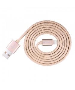 Cablu Lightning Devia Fashion MFI Rose Gold (licenta Apple, 1m, impletitura textila)