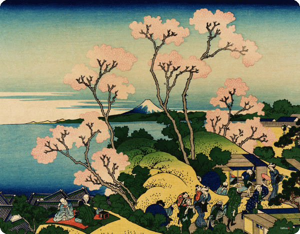 Hokusai - The Fuji from Gotenyama at Shinagawa on the Tokaido