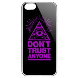 Don't Trust Anyone - iPhone 5/5S/SE Carcasa Transparenta Silicon