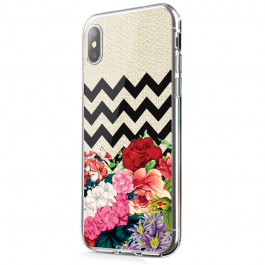 Floral Contrast - iPhone X Carcasa Transparenta Silicon