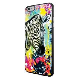 Zebra Splash - iPhone 6/6S Carcasa Neagra TPU
