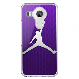 Purple Jordan - LG Nexus 5X Carcasa Transparenta Silicon