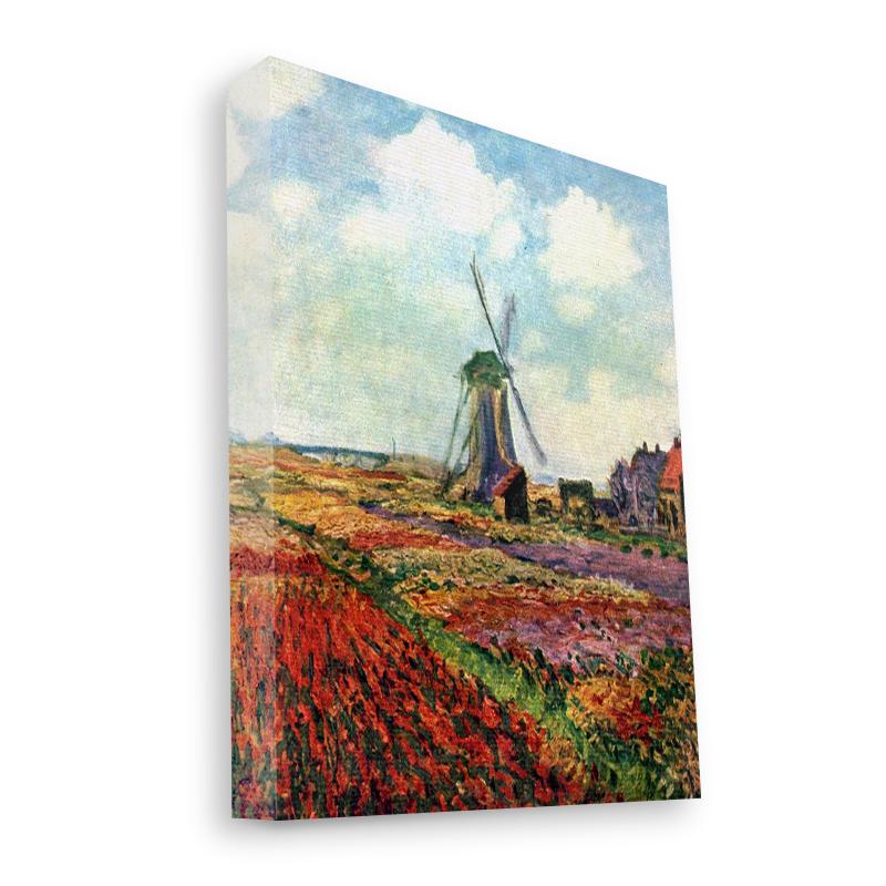 Claude Monet - Fields of Tulip With The Rijnsburg Windmill - Canvas Art 35x30