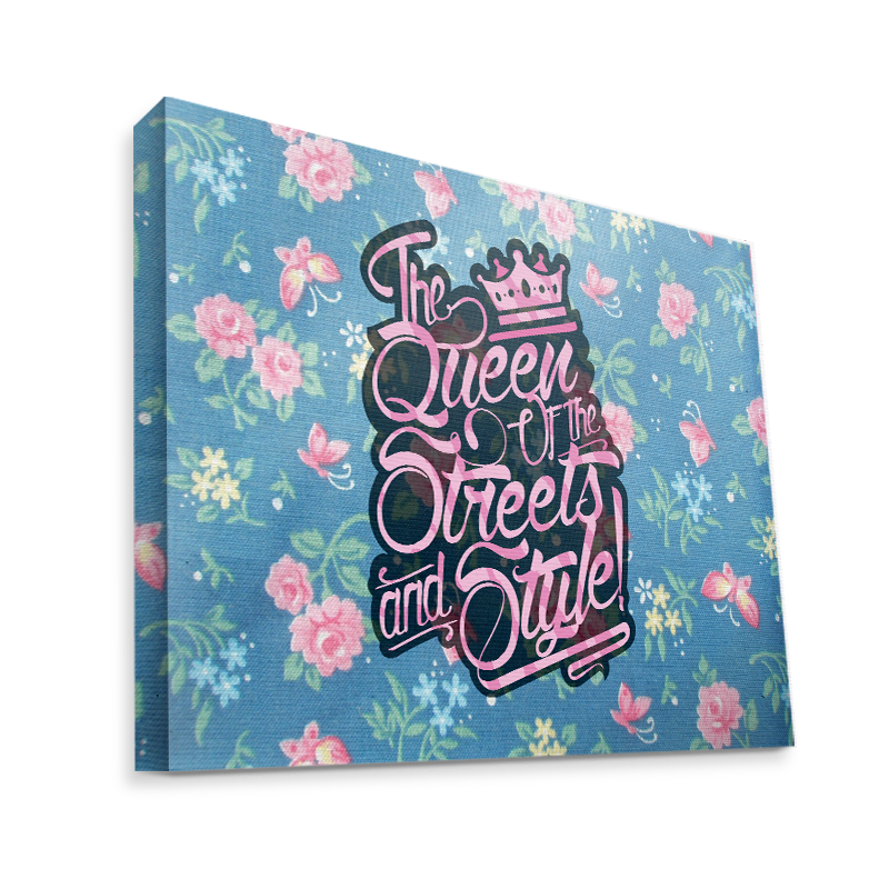 Queen of the Streets - Floral Blue - Canvas Art 35x30