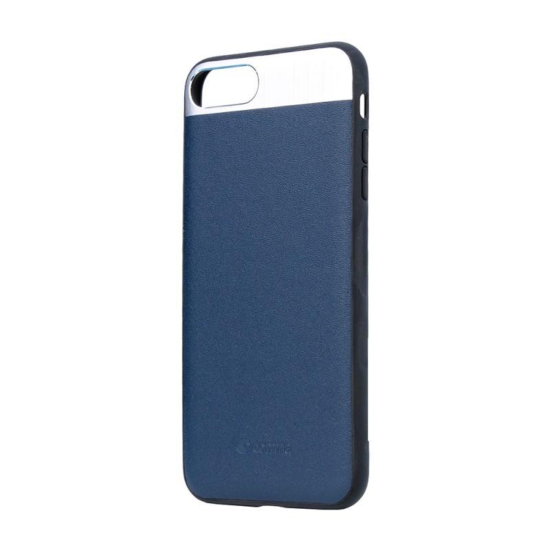 Vivid Leather Blue - Comma iPhone 7 Plus / iPhone 8 Plus Carcasa (Piele naturala, aluminiu si margini flexibile)