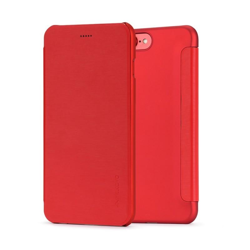 Meleovo Smart Flip Red - iPhone 8 Husa Flip (spate mat perlat si fata cu aspect metalic)