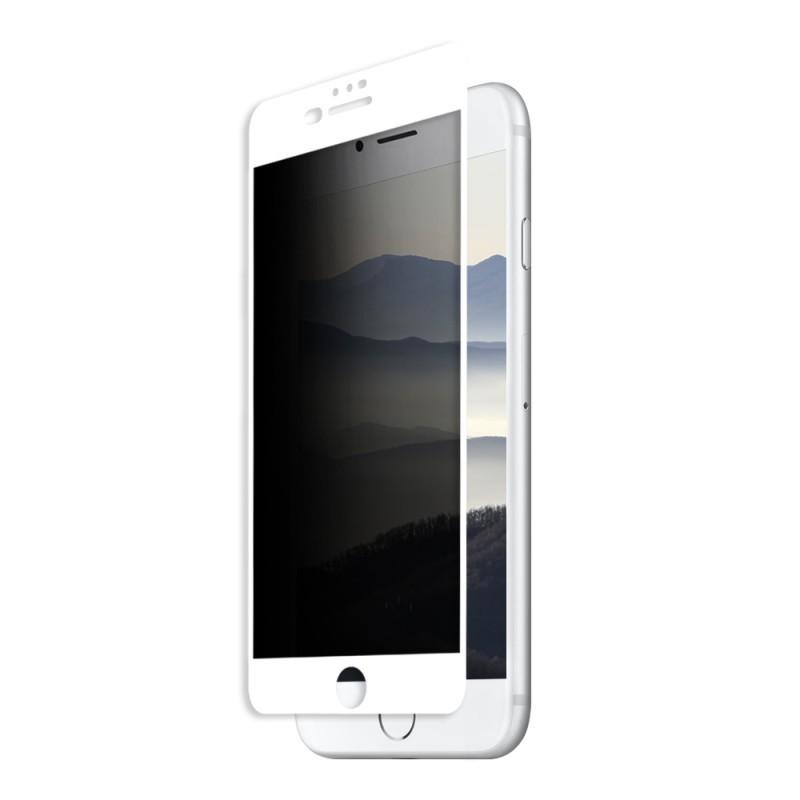 Folie Eiger Sticla 3D Privacy White (0.33mm, 9H, case friendly, curved, oleophobic) - iPhone 8 Plus / 7 Plus / 6s Plus