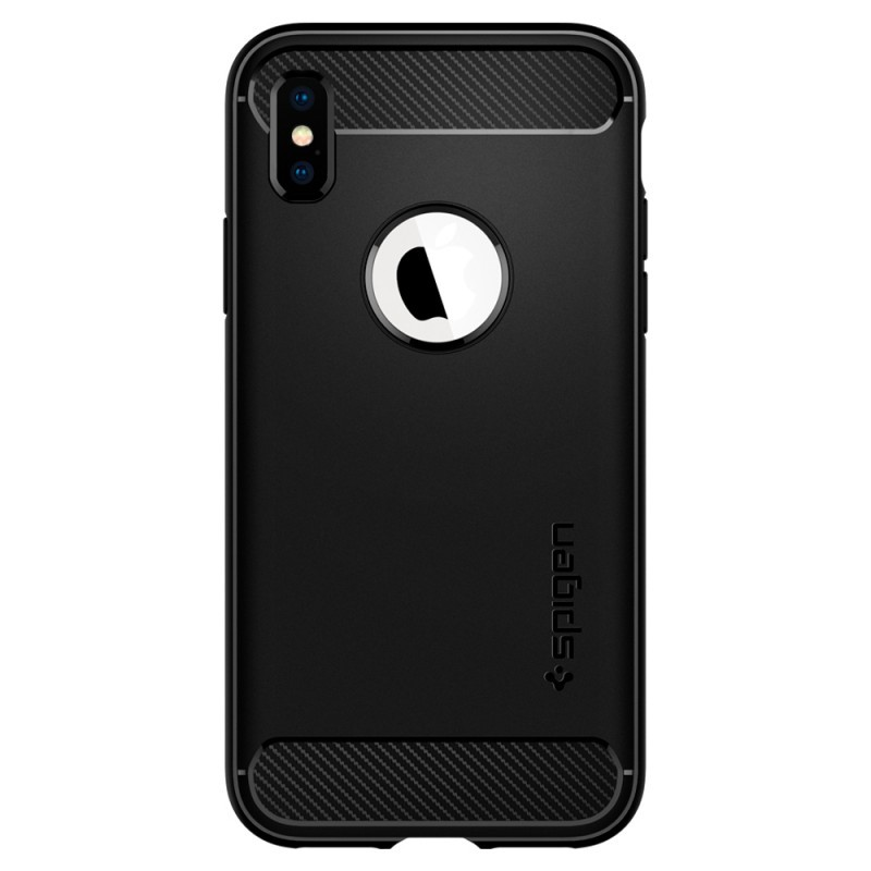 Spigen Rugged Armor Black - iPhone XS / X Carcasa TPU Silicon