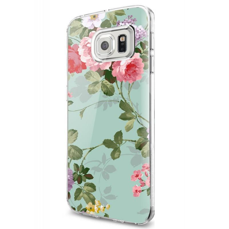 Retro Flowers Wallpaper - Samsung Galaxy S7 Edge Carcasa Silicon