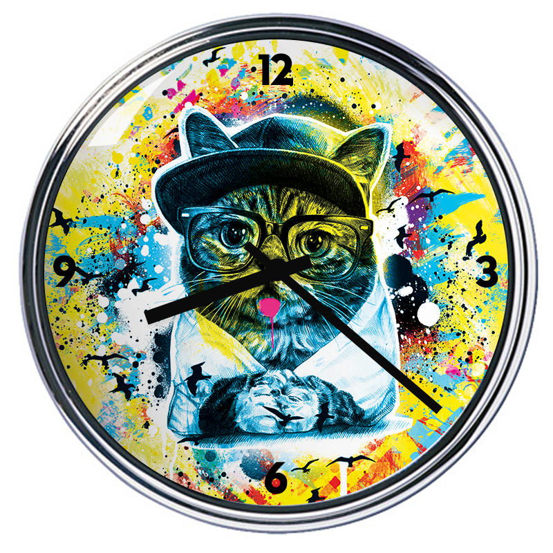Ceas personalizat - Hipster Meow