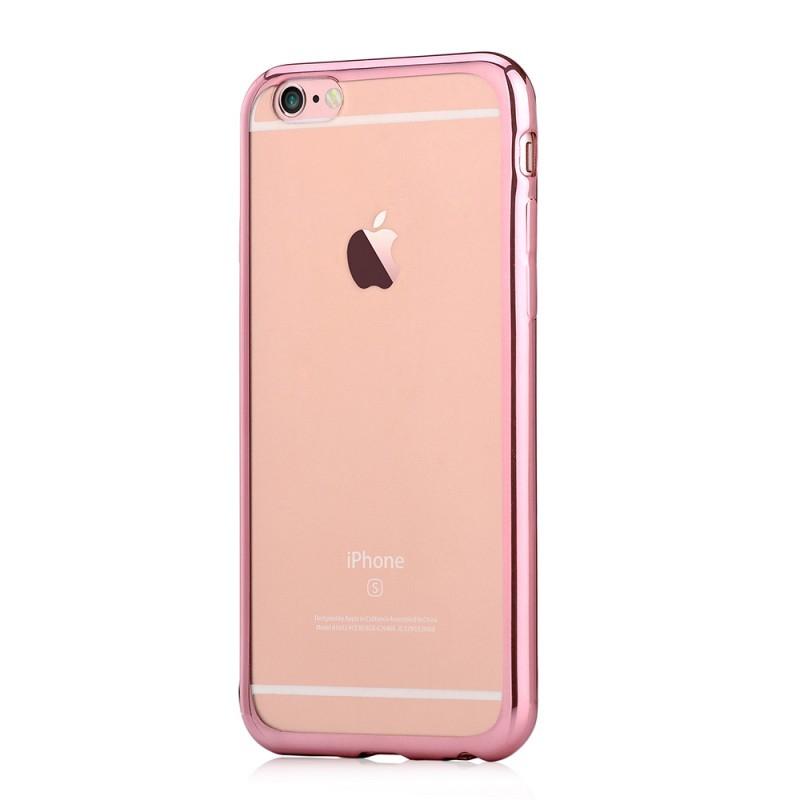 Glitter Soft Rose Gold - Devia iPhone 6/6S Carcasa Silicon (margini electroplacate)