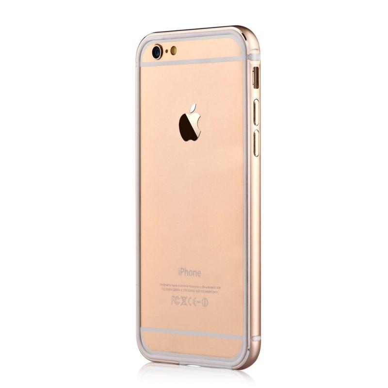 Devia Mighty Champagne Gold - iPhone 6/6S Bumper (Aluminiu + Silicon, protectie 360°)
