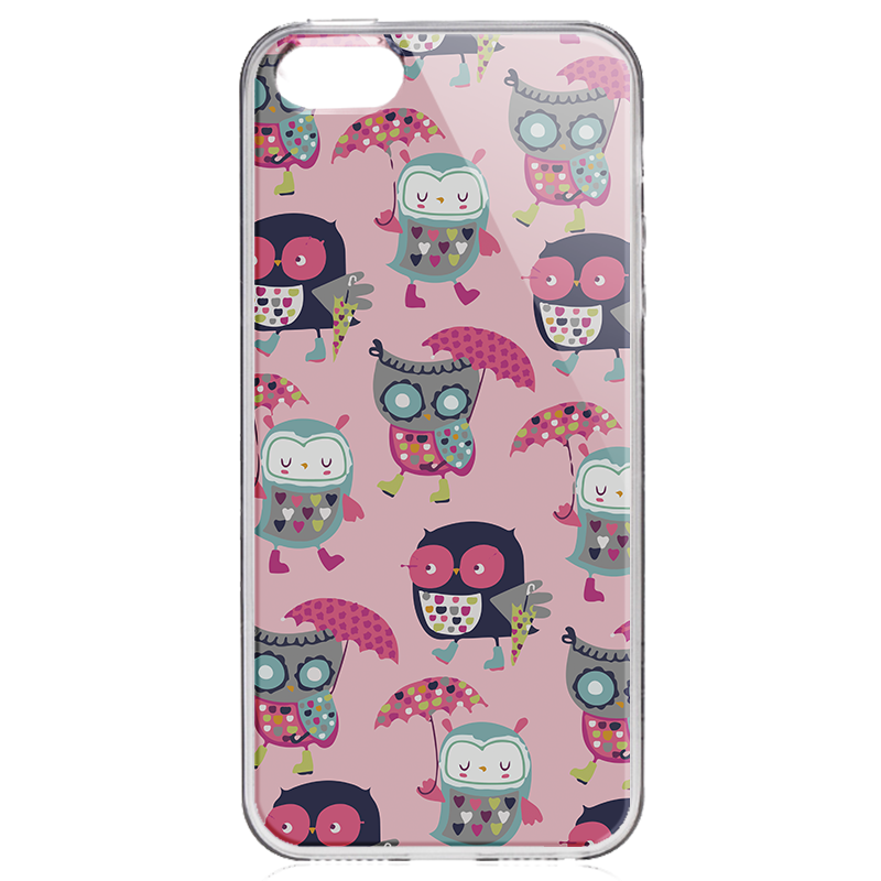 Pastel Owls - iPhone 5/5S/SE Carcasa Transparenta Silicon