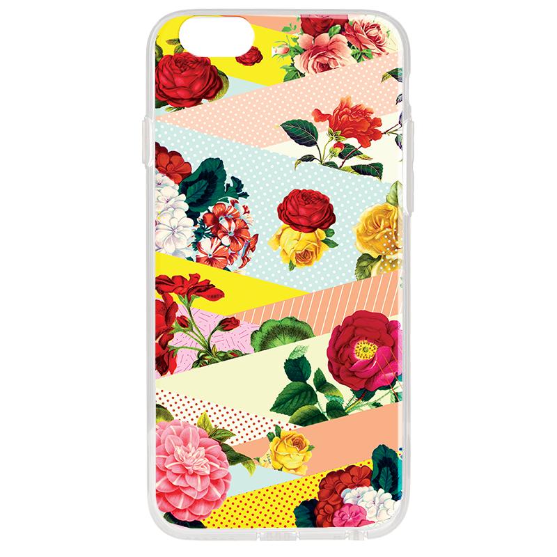 Flowers, Stripes & Dots - iPhone 6 Plus Carcasa Transparenta Silicon