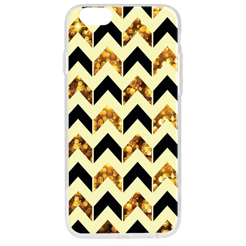 Black & Gold - iPhone 6 Plus Carcasa Transparenta Silicon