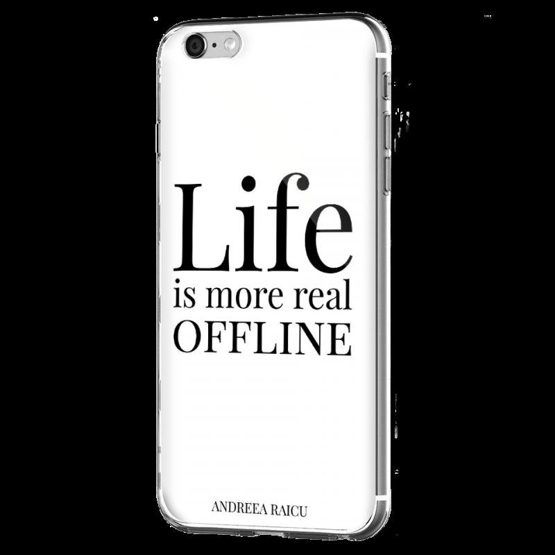 """""""Life is more real offline"""" - Alb - iPhone 6 Plus Carcasa Silicon Premium"""