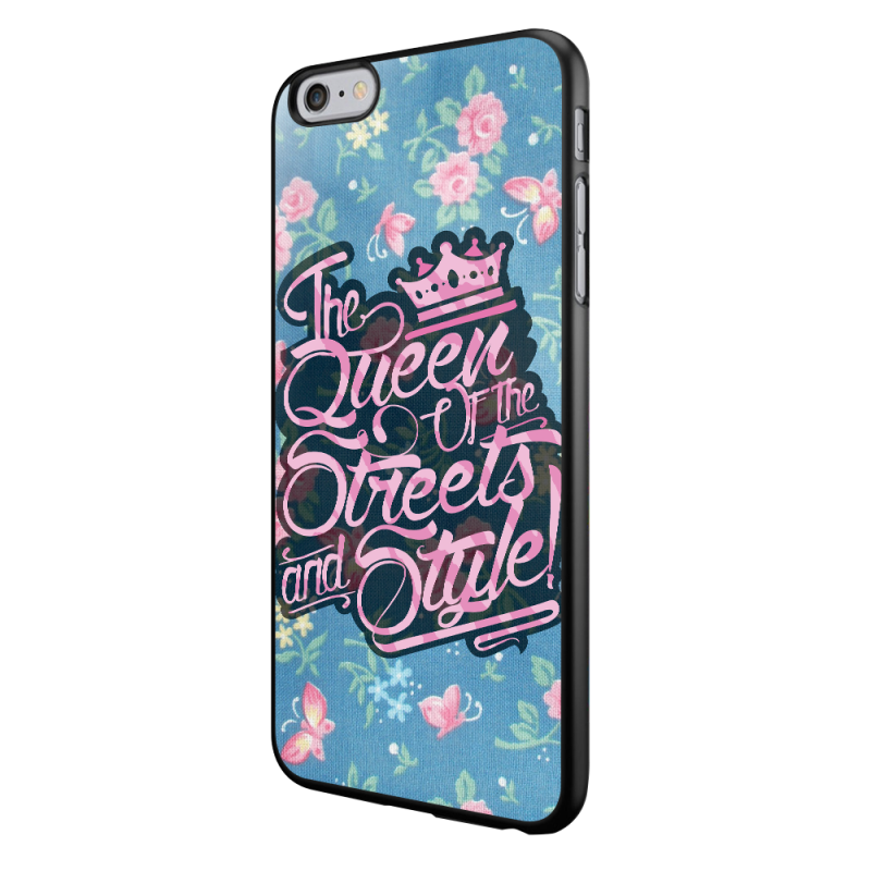 Queen of the Streets - Floral Blue - iPhone 6/6S Carcasa Neagra TPU