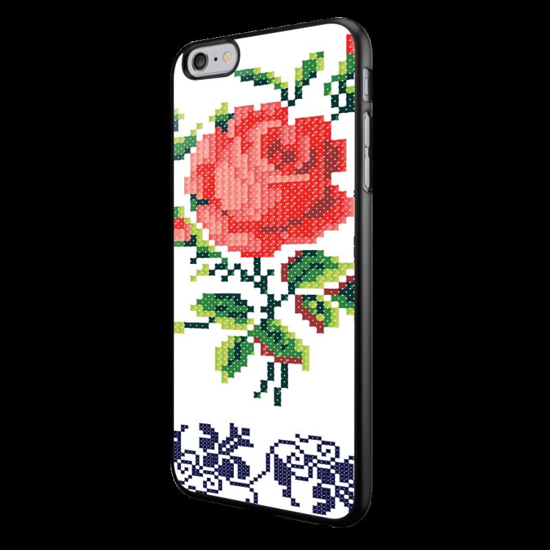 Red Rose- iPhone 6/6S Carcasa Neagra TPU