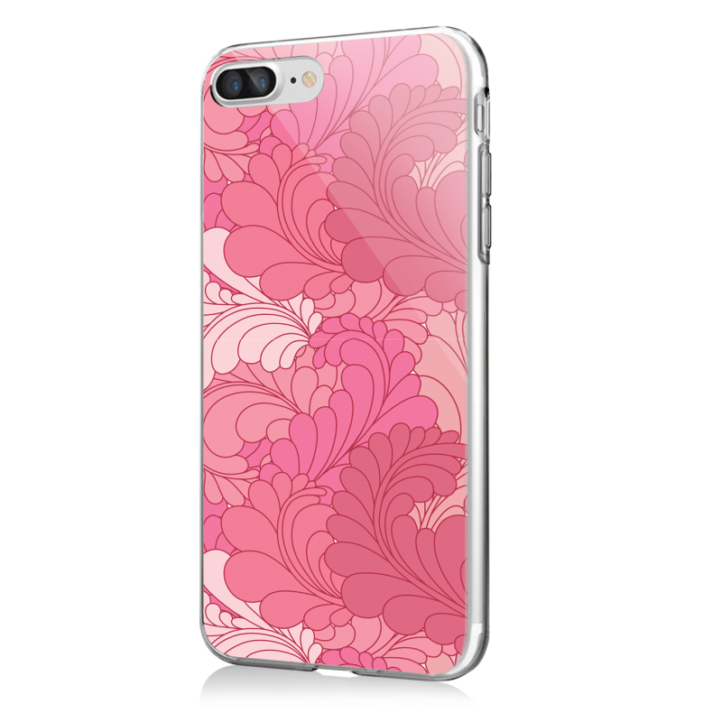 Rosy Feathers - iPhone 7 Plus / iPhone 8 Plus Carcasa Transparenta Silicon