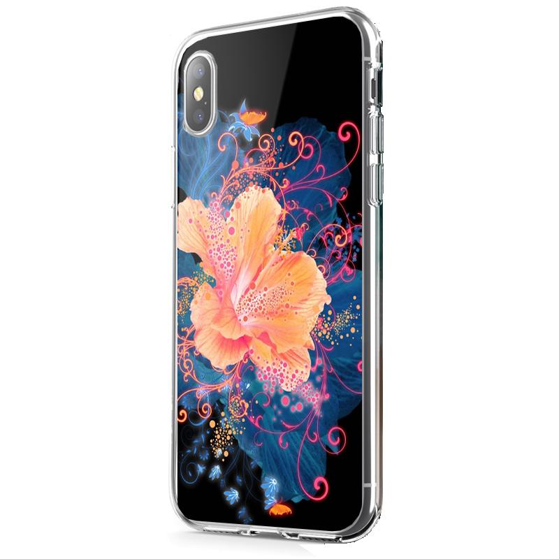 Abstract Flower - iPhone X Carcasa Transparenta Silicon