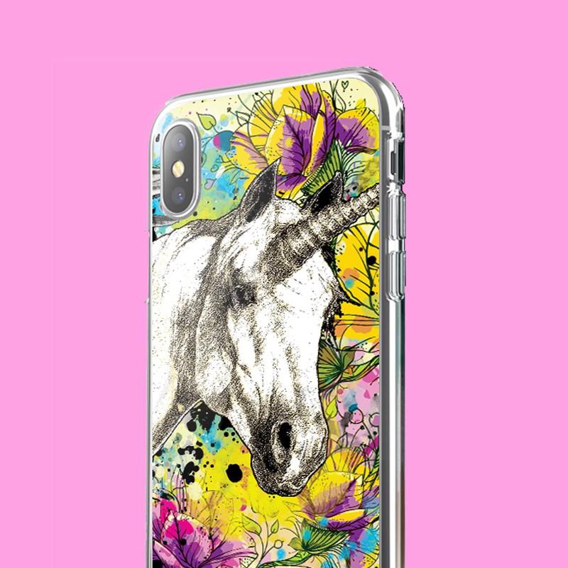 Unicorns and Fantasies - iPhone X Carcasa Transparenta Silicon