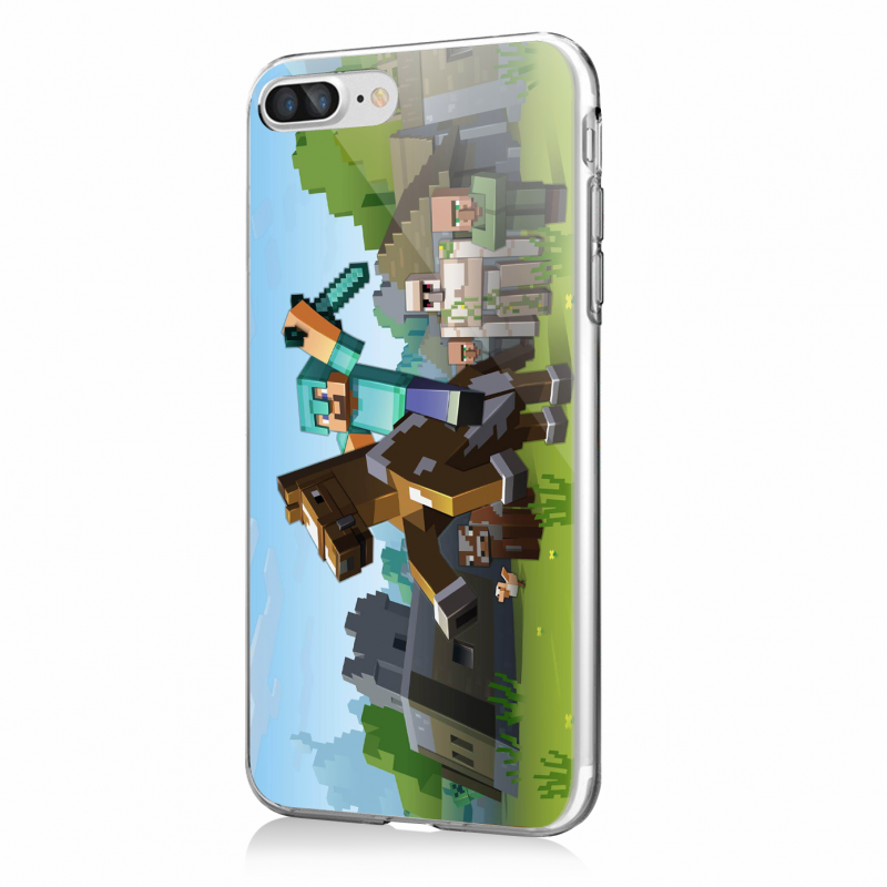 Minecraft Horse - iPhone 7 Plus / iPhone 8 Plus Carcasa Transparenta Silicon