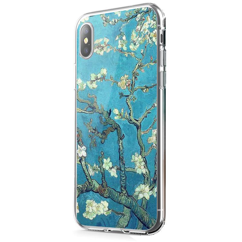 Van Gogh - Branches with Almond Blossom - iPhone X Carcasa Transparenta Silicon