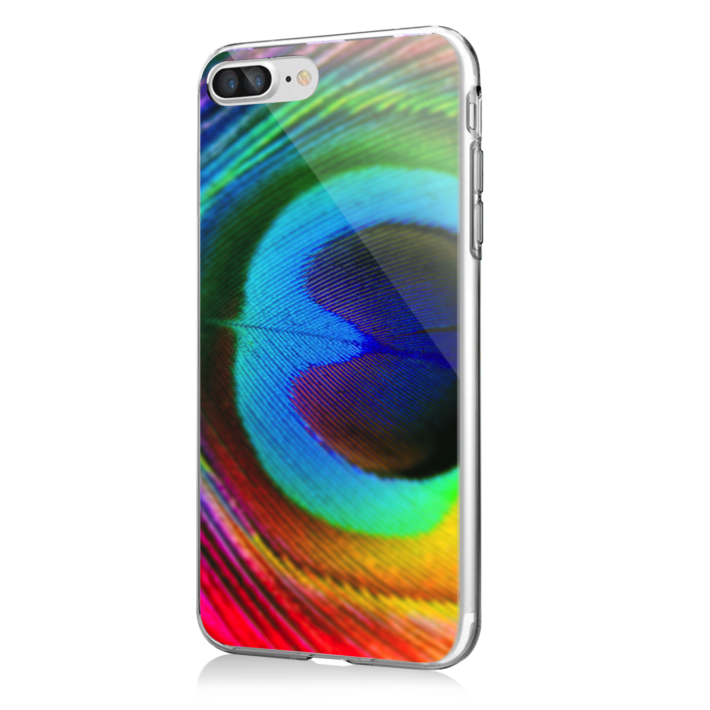 peacock feather iphone 7 plus iphone 8 plus carcasa transparenta silicon. Black Bedroom Furniture Sets. Home Design Ideas