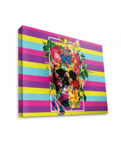 Floral Explosion Skull - Canvas Art 35x30
