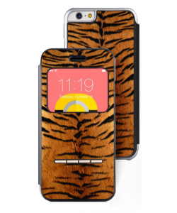 Tiger Fur - iPhone Plus 6 Plus Husa Book Premium - Piele Neagra (Front View)