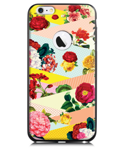 Flowers, Stripes & Dots - iPhone 6 Plus Carcasa TPU Premium Neagra