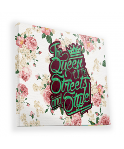 Queen of the Streets - Floral White - Canvas Art 90x90