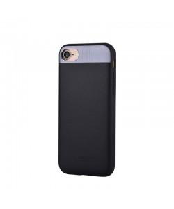 Vivid Leather Black - Comma iPhone 7 / iPhone 8 Carcasa (Piele naturala, aluminiu si margini flexibile)