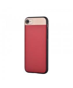 Vivid Leather Red - Comma iPhone 7 / iPhone 8 Carcasa (Piele naturala, aluminiu si margini flexibile)