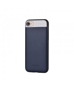 Vivid Leather Blue - Comma iPhone 7 / iPhone 8 Carcasa (Piele naturala, aluminiu si margini flexibile)