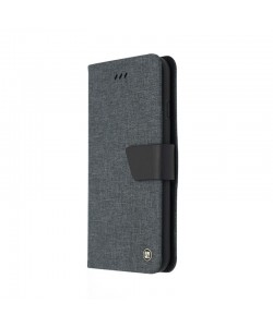 Just Must Book Linen Black - iPhone 7 / iPhone 8 Husa Book (material textil cu silicon in interior)