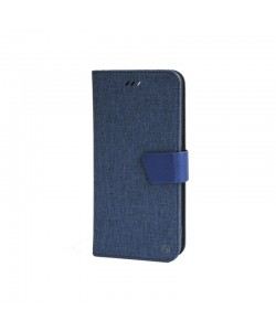Just Must Linen Navy - Huawei P10 Husa Book (material textil cu silicon in interior)