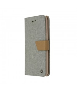Just Must Linen Gray - Huawei P10 Husa Book (material textil cu silicon in interior)