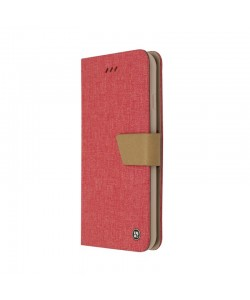 Just Must Linen Pink - Huawei P10 Husa Book (material textil cu silicon in interior)
