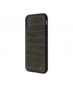 Occa Skin II Brown - iPhone X Carcasa (piele naturala, textura croco, margini flexibile)
