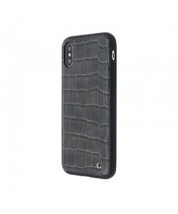 Occa Skin II Navy - iPhone X Carcasa (piele naturala, textura croco, margini flexibile)