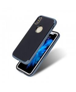 Just Must Arm Duo - iPhone X Carcasa Gray (spate textura carbon negru)