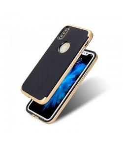 Just Must Arm Duo - iPhone X Carcasa Gold (spate textura carbon negru)