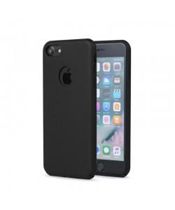Meleovo 360 Shield - iPhone 8 Carcasa Plastic Negru (culoare metalizata fina, captuseala din microfibra)