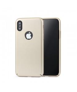 Meleovo 360 Shield - iPhone X Carcasa Plastic Gold (culoare metalizata fina, captuseala din microfibra)