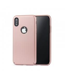 Meleovo 360 Shield - iPhone X Carcasa Plastic Rose Gold (culoare metalizata fina, captuseala din microfibra)