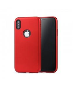 Meleovo 360 Shield - iPhone X Carcasa Plastic Rosu (culoare metalizata fina, captuseala din microfibra)