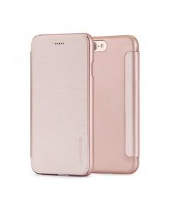 Meleovo Smart Flip Rose Gold - iPhone 8 Husa Flip (spate mat perlat si fata cu aspect metalic)
