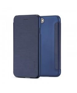 Meleovo Smart Flip Navy - iPhone 8 Husa Flip (spate mat perlat si fata cu aspect metalic)