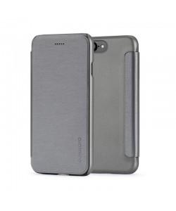 Meleovo Smart Flip Gray - iPhone 8 Husa Flip (spate mat perlat si fata cu aspect metalic)